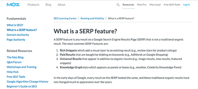 What is a SERP feature? | MOZ